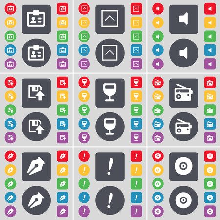 mark pen: Contact, Arrow up, Sound, Floppy, Wineglass, Radio, Ink pen, Exclamation mark, Disk icon symbol. A large set of flat, colored buttons for your design. illustration Stock Photo