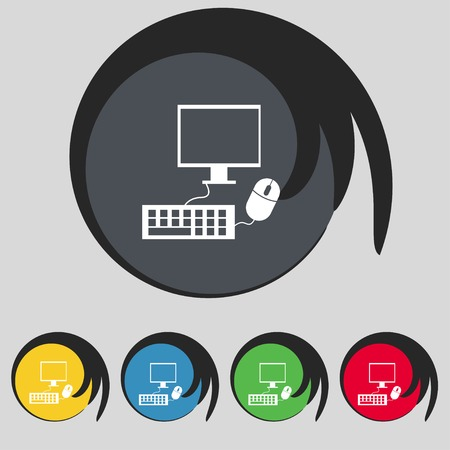 widescreen: Computer widescreen monitor, keyboard, mouse sign icon. Set colourful buttons illustration