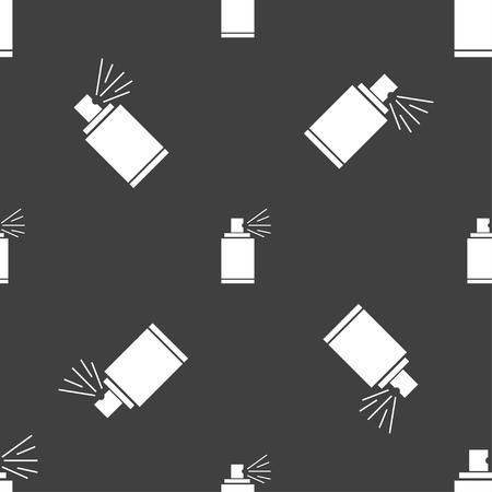 aerosol can: Graffiti spray can sign icon. Aerosol paint symbol. Seamless pattern on a gray background. illustration Stock Photo
