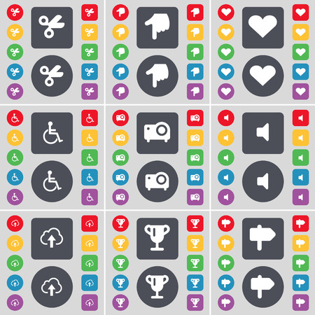 disabled person: Scissors, Hand, Heart, Disabled person, Projector, Sound, Cloud, Cup, Signpost icon symbol. A large set of flat, colored buttons for your design. illustration