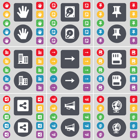 sim card: Hand, Hard drive, Pin, Building, Arrow right, SIM card, Share, Megaphone, Globe icon symbol. A large set of flat, colored buttons for your design. illustration