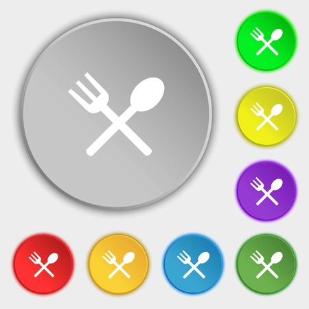 crosswise: Fork and spoon crosswise, Cutlery, Eat icon sign. Symbols on eight flat buttons. illustration
