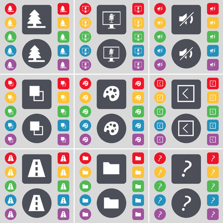firtree: Firtree, Monitor, Mute, Copy, Palette, Arrow left, Road, Folder, Question mark icon symbol. A large set of flat, colored buttons for your design. illustration
