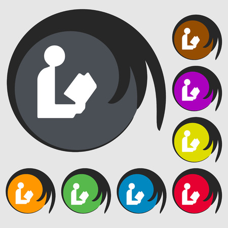 videobook: read a book icon sign. Symbol on eight colored buttons. illustration
