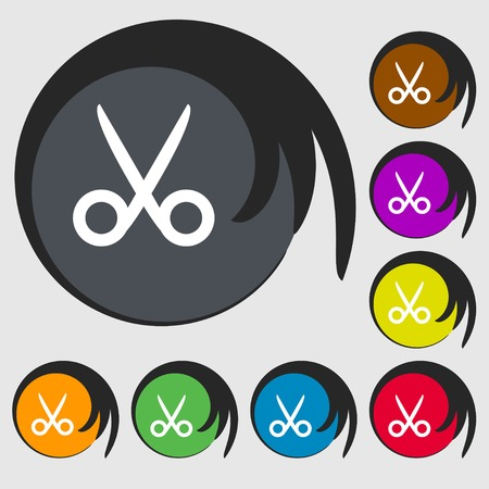 disclosed: Scissors hairdresser sign icon. Tailor symbol. Symbols on eight colored buttons. illustration Stock Photo