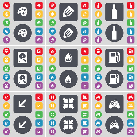 gas bottle: Palette, Pencil, Bottle, Hard drive, Fire, Gas station, Deploying screen, Gamepad icon symbol. A large set of flat, colored buttons for your design. illustration