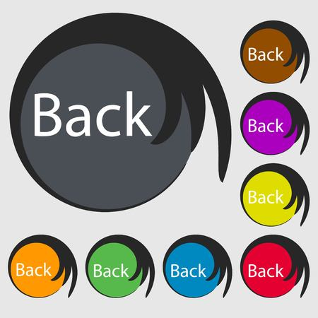 back button: Arrow sign icon. Back button. Navigation symbo. Symbols on eight colored buttons. illustration Stock Photo