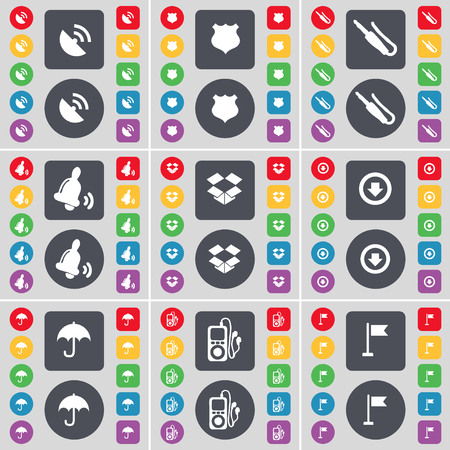 dropbox: Satellite dish, Police badge, Microphone connector, Bell, Dropbox, Arrow down, Umbrella, MP3 player, Golf hole icon symbol. A large set of flat, colored buttons for your design. illustration