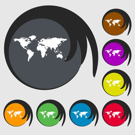 geography: Globe sign icon. World map geography symbol. Symbols on eight colored buttons. illustration