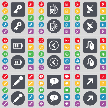 mp3 player: Key, MP3 player, Satellite dish, Battery, Arrow left, Mouse, Microphone, Chat bubble, Full screen icon symbol. A large set of flat, colored buttons for your design. illustration Stock Photo