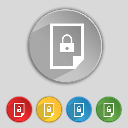 locked icon: File locked icon sign. Set of coloured buttons. illustration