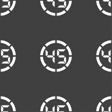 min: 45 second stopwatch icon sign. Seamless pattern on a gray background. illustration