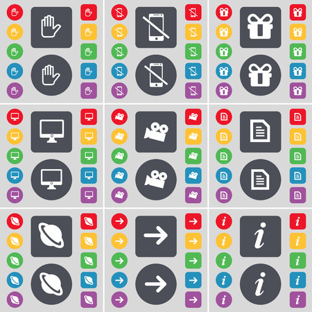 arrow right: Hand, Smartphone, Gift, Monitor, Film camera, Text file, Planet, Arrow right, Information icon symbol. A large set of flat, colored buttons for your design. illustration