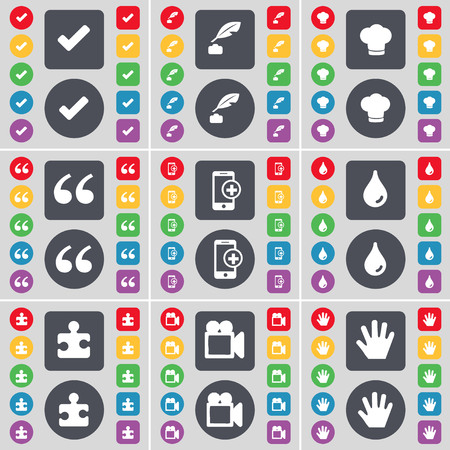ink pot: Tick, Ink pot, Cooking hat, Quotation mark, Smartphone, Drop, Puzzle part, Film camera, Hand icon symbol. A large set of flat, colored buttons for your design. illustration