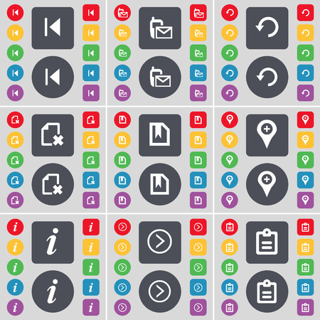 skip: Media skip, SMS, Reload, File, Checkpoint, Information, Arrow right, Survey icon symbol. A large set of flat, colored buttons for your design. illustration