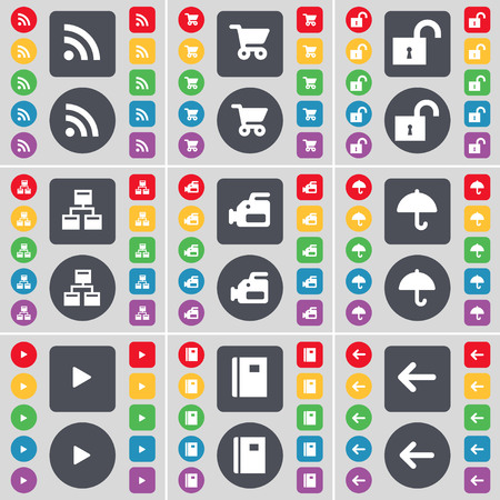 arrow left icon: RSS, Shopping cart, Lock, Network, Film camera, Umbrella, Media play, Notebook, Arrow left icon symbol. A large set of flat, colored buttons for your design. illustration Stock Photo