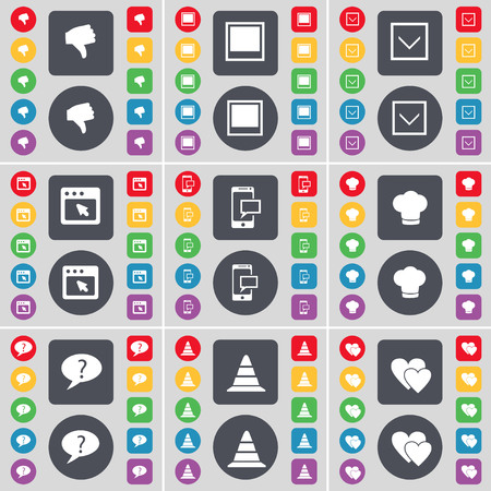 chat window: Dislike, Window, Arrow down, Window, SMS, Cooking hat, Chat bubble, Cone, Heart icon symbol. A large set of flat, colored buttons for your design. illustration Stock Photo