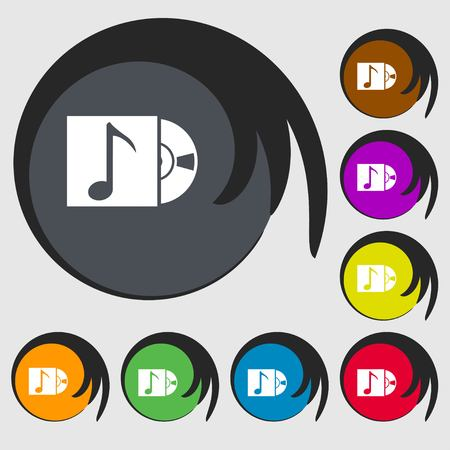 cd player: cd player icon sign. Symbols on eight colored buttons. illustration