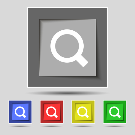 interface menu tool: Magnifier glass icon sign on the original five colored buttons. illustration