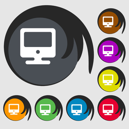 incrustation: monitor icon sign. Symbol on eight colored buttons. illustration Stock Photo