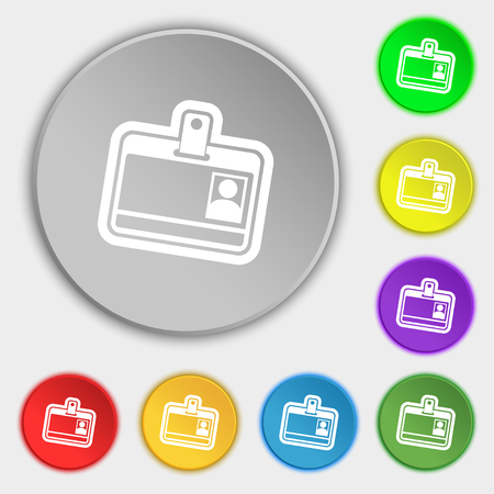 recognizing: Id card icon sign. Symbol on eight flat buttons. illustration