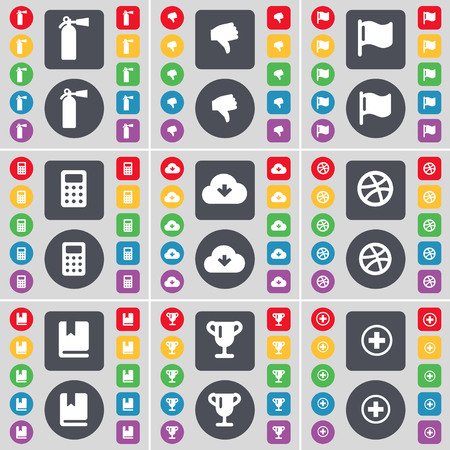 fire extinguisher symbol: Fire extinguisher, Dislike, Flag, Calculator, Cloud, Ball, Dictionary, Cup, Plus icon symbol. A large set of flat, colored buttons for your design. illustration Stock Photo
