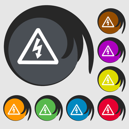 voltage symbol: voltage icon sign. Symbol on eight colored buttons. illustration Stock Photo