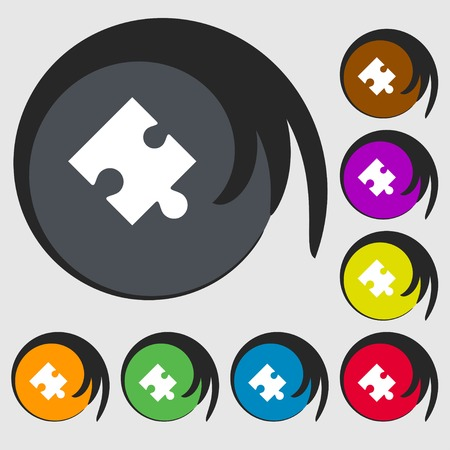 puzzle corners: Puzzle piece icon sign. Symbols on eight colored buttons. illustration