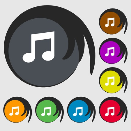 eight note: Music note sign icon. Musical symbol. Symbols on eight colored buttons. illustration