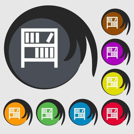 encyclopedias: Bookshelf icon sign. Symbols on eight colored buttons. illustration