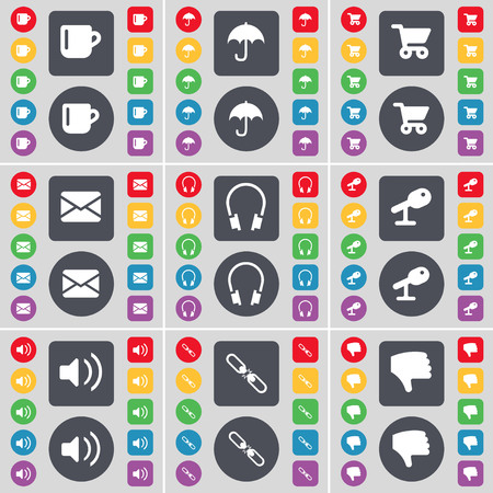 shopping card: Cup, Umbrella, Shopping card, Message, Headphones, Microphone, Sound, Link, Dislike icon symbol. A large set of flat, colored buttons for your design. illustration Stock Photo