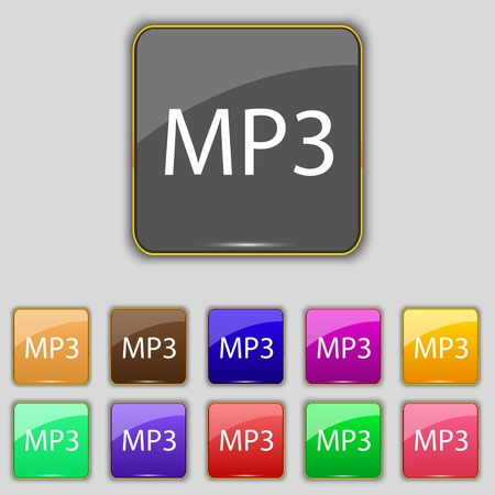 Mp3 music format sign icon. Musical symbol. Set of colored buttons. illustration