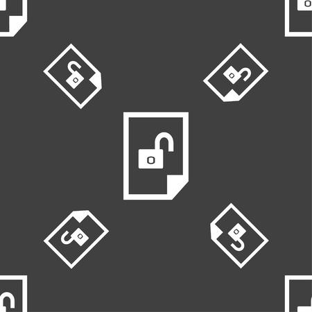 unlocked: File unlocked icon sign. Seamless pattern on a gray background. illustration Stock Photo