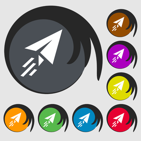 paper airplane: Paper airplane icon sign. Symbol on eight colored buttons. illustration