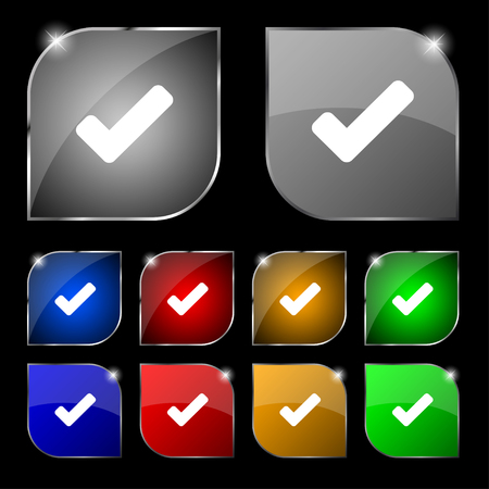 tik: Check mark, tik icon sign. Set of ten colorful buttons with glare. illustration