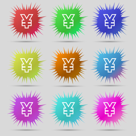 jpy: Yen JPY icon sign. A set of nine original needle buttons. illustration