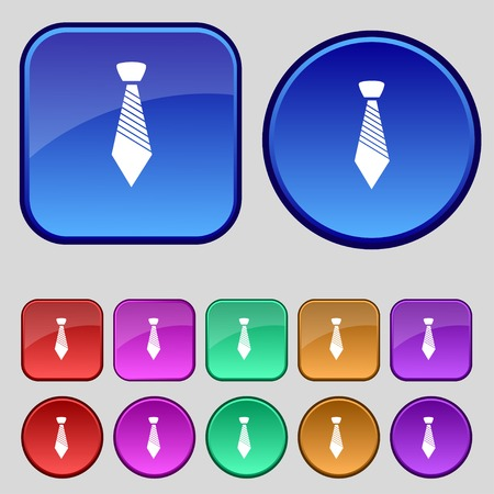 official wear: Tie sign icon. Business clothes symbol. Set colourful buttons. illustration