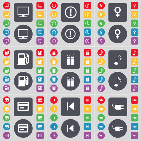 venus symbol: Monitor, Warning, Venus symbol, Gas station, Gift, Note, Credit card, Media skip, Socket icon symbol. A large set of flat, colored buttons for your design. illustration Stock Photo
