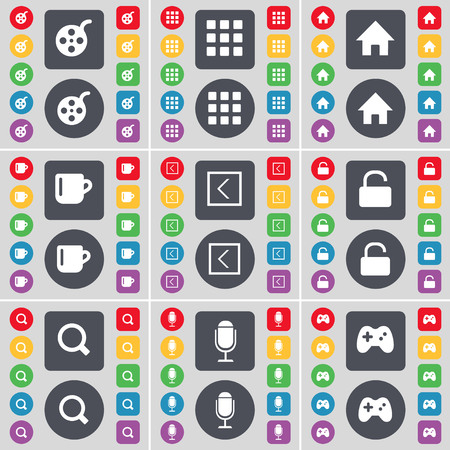 videotape: Videotape, Apps, House, Cup, Arrow left, Lock, Magnifying glass, Microphone, Gamepad icon symbol. A large set of flat, colored buttons for your design. illustration