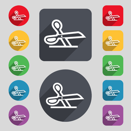 snip: scissors icon sign. A set of 12 colored buttons and a long shadow. Flat design. illustration Stock Photo