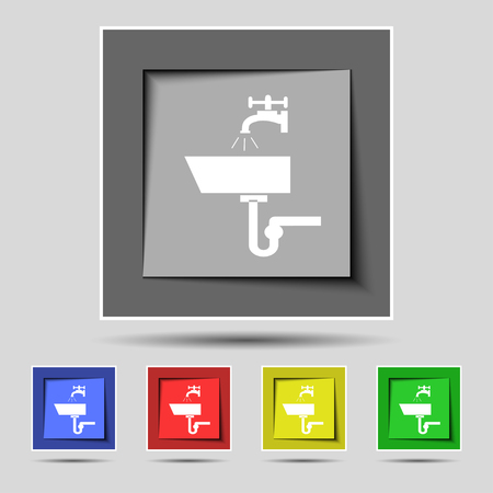 washbasin: Washbasin icon sign on the original five colored buttons. illustration