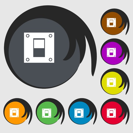 power switch: Power switch icon sign. Symbols on eight colored buttons. illustration Stock Photo