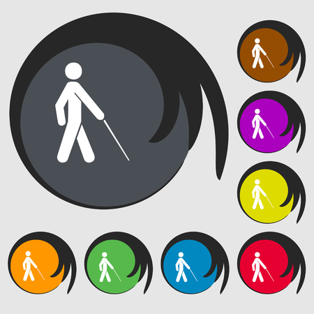 disabled access: blind icon sign. Symbol on eight colored buttons. illustration Stock Photo