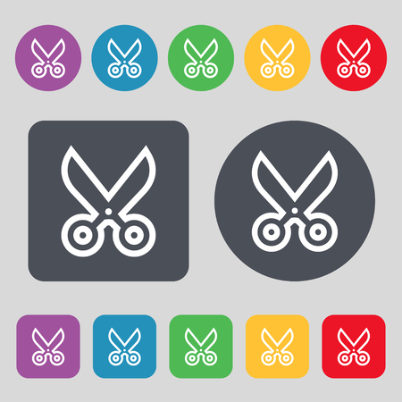 snip: scissors icon sign. A set of 12 colored buttons. Flat design. illustration Stock Photo