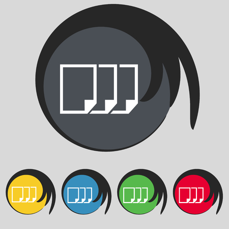duplicate: Copy file sign icon. Duplicate document symbol. Set of colored buttons. illustration