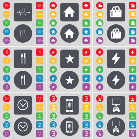 house shopping: Pulse, House, Shopping bag, Fork and knife, Star, Flash, Arrow down, Smartphone, Game console icon symbol. A large set of flat, colored buttons for your design. illustration Stock Photo