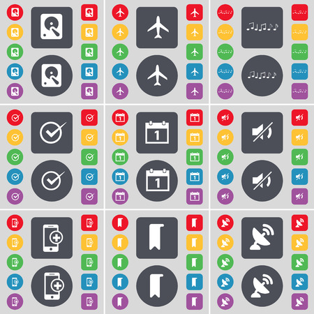 satellite dish: Hard drive, Airplane, Note, Tick, Calendar, Mute, Smartphone, Marker, Satellite dish icon symbol. A large set of flat, colored buttons for your design. illustration Stock Photo