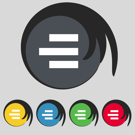 medium group of object: Right-aligned icon sign. Symbol on five colored buttons. illustration