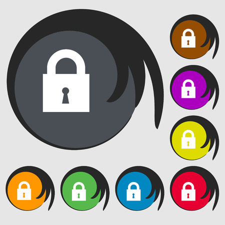 safest: closed lock icon sign. Symbol on eight colored buttons. illustration Stock Photo