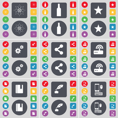 ink pot: Star, Bottle, Star, Gear, Share, Router, Dictionary, Ink pot, Smartphone icon symbol. A large set of flat, colored buttons for your design. illustration